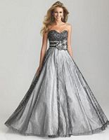 Size 10 Black-Purple Night Moves 6707 Glitter Tulle Ball Gown image