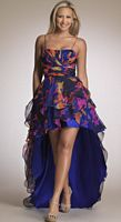 Dave and Johnny Bright Print High Low Evening Dress 6739 image