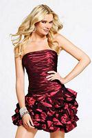 Faviana Ruched Short Taffeta Dress with Cascade Skirt 6813 image