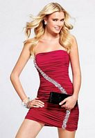 Faviana Strapless Ruched Cocktail Dress with Beading 6817 image