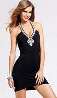 Faviana Short Halter Dress with Beaded Mesh Back 6818 image