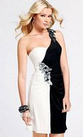 Faviana Black and White Short One Shoulder Homecoming Dress 6819 image