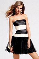 Black and Ivory Faviana Short Layer Party Dress 6823 image