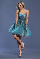 Dave and Johnny 6904 Peacock Design Short Party Dress image