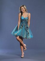 Dave and Johnny Short Peacock Tulle Prom Dress 6904 image