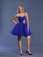 Dave and Johnny Short Purple Beaded Tulle Prom Dress 6905 image