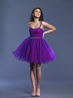 Dave and Johnny Short One Shoulder Tulle Prom Dress 6906 image