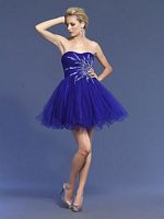 Dave and Johnny Strapless Purple Short Prom Dress 6908 image