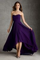 Mori Lee 694 High Low Chiffon Bridesmaid Dress image
