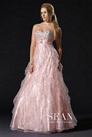 Sean Couture Sequin Beaded Ruffle Prom Ball Gown 70579 image