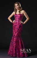 Sean Couture Fuchsia Mermaid Prom Dress with Corset Back 70582 image