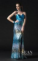 Sean Couture Turquoise Fully Sequin Prom Dress 70585 image