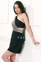 Faviana One Shoulder Jersey Short Dress 7062 with Cut-Out image