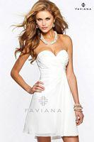 Size 10 Ivory Faviana 7075 Short Chiffon Dress image