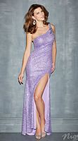Size 2 Lilac Night Moves 7092 One Shoulder Sequin Formal Dress image