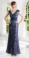 Size 8 Navy-Ivory VM Collection 70927 Lace Mothers Dress image