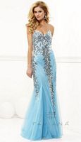 Size 8 Tiffany Blue Faviana Sequin and Mesh Evening Dress 7113 image