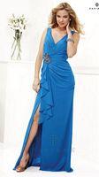 Faviana Chiffon Extra Size Dress F7131E with Ruffle Peplum image