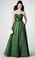 Size 14 Pine Green Alfred Angelo Strapless Long Bridesmaid Dress 7187 image