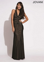 Jovani 7236 Jersey Gown with Print Trim image