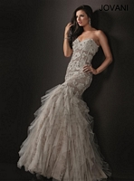 Jovani 72635 Tiered Ruffle Lace Gown image