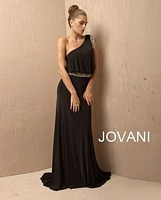 Jovani 72705 One Shoulder Jersey Gown image