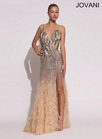 Jovani 73028 V Neck Sequin Feather Gown image