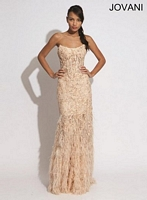 Jovani 73032 Gown with Tiered Feather Skirt image
