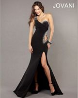 Jovani One Shoulder Long Dress with Side Cutout 73034 image