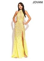 Jovani 73059 Halter Plunging Neck Formal Dress image