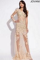 Jovani 73072 One Sleeve Lace Mermaid Dress image