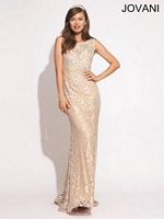 Jovani 73119 Lace Gown with Floral Applique image