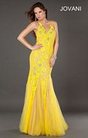 Jovani 73125 V Neck Beaded Formal Dress with Lace image