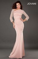 Jovani 73138 Beaded Lace Long Sleeve Gown image