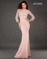 Jovani 73138 Jersey Gown with Lace Sleeves image