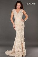 Jovani 73423 Lace Formal Dress with Rosettes image