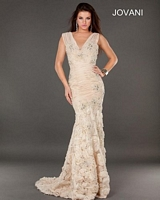 Jovani 73423 Chiffon Mermaid Dress with Rosettes image