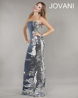 Jovani 736 Fitted Jersey Gown with Mirror Beading image