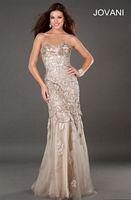 Jovani 73625 Beaded Leaf Design Gown image