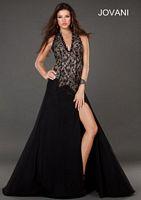 Jovani 73714 Deep V Halter Formal Dress image