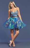 Dave and Johnny 7375 Colorful Print Short Party Dress image