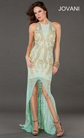 Jovani 73990 High Low Dress with High Neck image