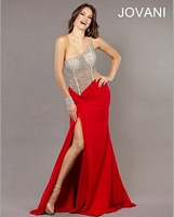 Jovani 74095 Sheer Beaded Jersey Gown image