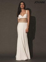 Jovani 74097 Sleeveless Jersey Gown with Cut Outs image