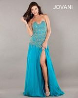Jovani Strapless Beaded Evening Gown 74118 image