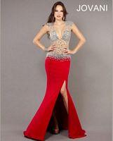 Jovani Deep V Neck Illusion Formal Gown 74234 image