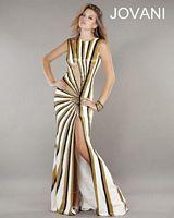 Jovani 743 Jersey Long Dress with Beaded Print image
