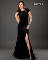 Jovani 74407 Short Sleeve Formal Dress with Sheer Cutouts image