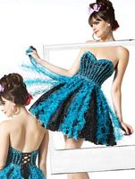 MacDuggal BabyDoll Black Turquoise Polka Dot Short Prom Dress 7588B image