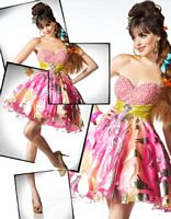 BabyDoll by MacDuggal Vibrant Pink Print Short Prom Dress 75958B image